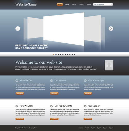 Simple Business Website Template Vector Free Download With Regard To Basic Business Website Template