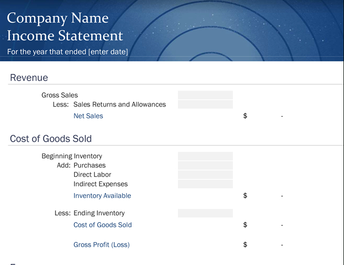 Small Business Income Statement Pertaining To Financial Statement For Small Business Template