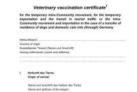 Tierärztliche Impfbescheinigung Veterinary Vaccination throughout Dog Vaccination Certificate Template
