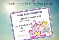 Tooth Fairy Certificate in Tooth Fairy Certificate Template Free