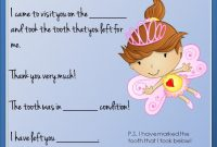 Tooth Fairy Letter   Tooth Fairy Certificate, Tooth Fairy with Tooth Fairy Certificate Template Free
