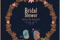 Wedding Banner Template Wreath Birds Icon Cartoon Design with Bride To Be Banner Template