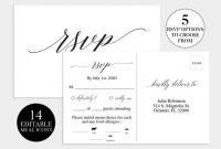 Wedding Rsvp Card | Wedding Rsvp Template | Wedding Rsvp Postcard |  Printable Response Card Template | Printable Cards & Meal Choice Icons pertaining to Template For Rsvp Cards For Wedding