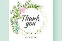 Wedding Thank You Card Template. Vector Watercolor Flowers inside Template For Wedding Thank You Cards