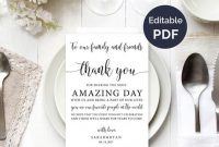 Wedding Thank You Note Template, Wedding Table Thank You, Thank You Card,  Reception Thank You Cards, Guest Thank You, Diy Template with regard to Template For Wedding Thank You Cards