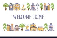 Welcome Home Banner Template With Cute Hand Drawn regarding Welcome Banner Template