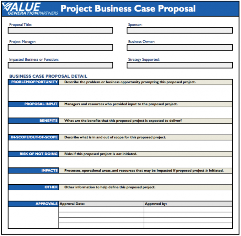Word Template Proposal Project Business Case Template Sample With Regard To Writing Business Cases Template