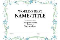 World's Best Award Certificate regarding Microsoft Word Award Certificate Template